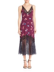 Rebecca Taylor Silk Bellflower Lace Trim Slip Dress Plum Combo