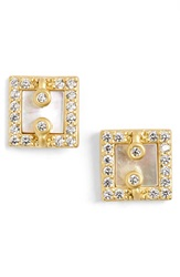 Freida Rothman 'Visionary' Square Stud Earrings Gold Mother Of Pearl
