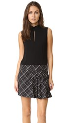 Rachel Zoe Naya Drop Waist Pleated Dress Black Ecru Grey