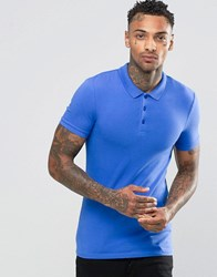 Asos Extreme Muscle Jersey Polo Shirt In Blue Bright Blue