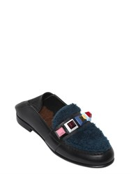Fendi 10Mm Studs Shearling And Leather Loafers