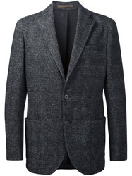 Eleventy Checked Casual Blazer Grey