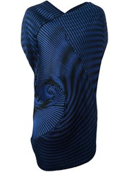 Issey Miyake Long Pleated Spiral Tank Blue