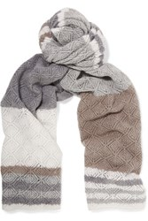 Magaschoni Striped Open Knit Cashmere Scarf Gray
