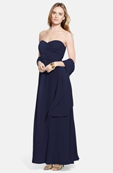Lauren Ralph Lauren Ruched Strapless Georgette Gown And Shawl Lighthouse Navy