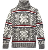 Thom Browne Fair Isle Wool And Mohair Blend Rollneck Sweater Gray