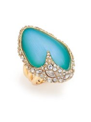 Alexis Bittar Desert Jasmine Lucite And Crystal Asymmetric Cocktail Ring Gold Turquoise