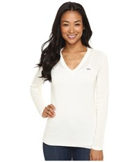 Lacoste Long Sleeve Cotton Jersey Ottoman V Neck Sweater Cake Flour White Women's Sweater