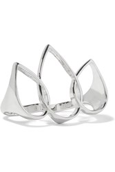 Noir Cheryl Silver Tone Two Finger Ring Metallic