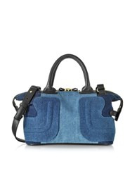 See By Chlo Kay Color Block Denim And Black Leather Satchel Bag Blue