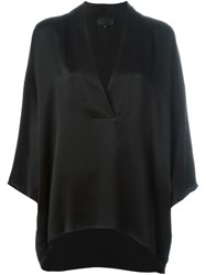 Nili Lotan V Neck Wrap Blouse Black