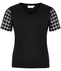 Cc Lace Sleeve Jersey Top Black