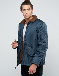 Brixton Colstrip Bomber Jacket With Sherpa Lining Navy
