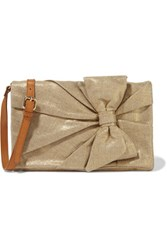 Red Valentino Redvalentino Small Leather Trimmed Metallic Canvas Shoulder Bag Gold
