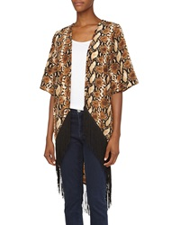 Romeo And Juliet Couture Snake Print Long Fringe Kimono Brown