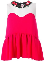 Msgm Embellished Collar Top Red