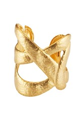 Kenneth Jay Lane Hammered Metal Cuff Gold