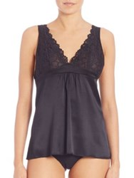 Josie Natori Lillian Silk And Lace Camisole Warmwhite Black