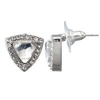 John Lewis Triangle Cubic Zirconia Large Stud Earrings Silver