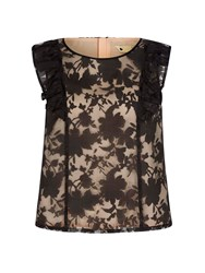 Yumi Crop Top With Lace Black