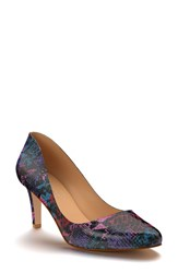 Shoes Of Prey Women's Round Toe Pump Purple Print Leather