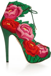 Charlotte Olympia Hibiscus Embroidered Satin Sandals Green