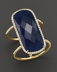 Meira T 14K Yellow Gold Double Band Sapphire Ring Gold Blue