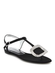 Roger Vivier Thong Chips Crystal Buckle Satin T Strap Sandals Black