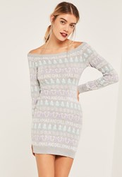 Missguided Grey Xmas And Chill Christmas Sweater Dress Grey