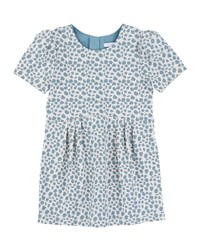 Chloe Short Sleeve Animal Print Shift Dress White Light Blue