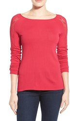 Women's Ellen Tracy Pointelle Inset Jersey Knit Top