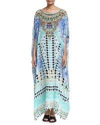 Camilla Printed Embellished Round Neck Maxi Caftan Coverup Andalusia