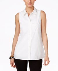 Alfani Sleeveless Button Front Blouse Only At Macy's Bright White