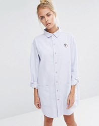 Lazy Oaf Oversized Pinstripe Shirt Dress With Strawberry Badge Blue