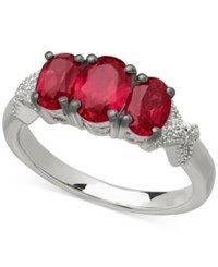 Macy's Ruby 2 3 8 Ct. T.W. And Diamond Accent Three Stone Ring In Sterling Silver