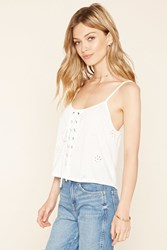Forever 21 Contemporary Floral Eyelet Cami