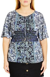 City Chic Plus Size Women's Lace Up Boho Top