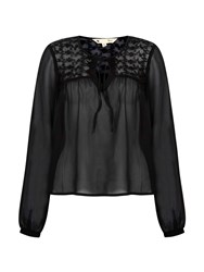 Yumi Embroidered Georgette Blouse With Tassels Black