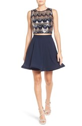 Way In Women's Two Piece Sequin Skater Dress Navy Silver Gold