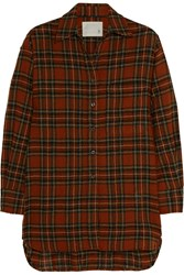 R 13 Oversized Plaid Wool Shirt Red