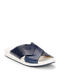 Kenneth Cole Maxwelle Leather Slides Navy Blue