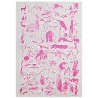 Fine Little Day Moo Moo Woof Woof Poster Pink