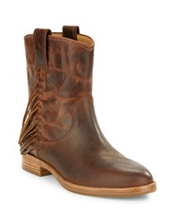 Belle By Sigerson Morrison Licie Fringed Leather Ankle Boot Brown
