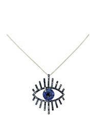 Zoe And Morgan Tiger Diamond Eye Necklace Blue
