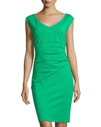 Diane Von Furstenberg Bevin Cap Sleeve Ruched Sheath Dress Spring Green
