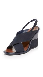 Tory Burch Gabrielle Wedge Sandals Royal Navy