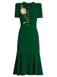 Dolce And Gabbana Pocket Watch Applique Crepe Midi Dress Green