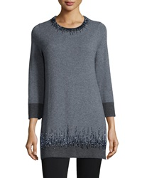 Neiman Marcus Cashmere Collection Long Cashmere Beaded Detail Tunic