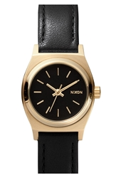Nixon 'The Small Time Teller' Leather Strap Watch 26Mm Black Gold