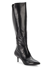 Enzo Angiolini Knee High Leather Side Zip Boots Black